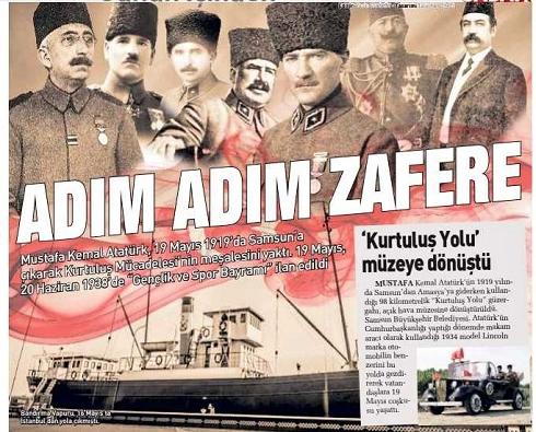 O gazete Millî mücadeleyle özdeşleşmiş isimler arasında son padişah Vahdettin ve sadrazam Damat Ferit'i de görsele taşıdı