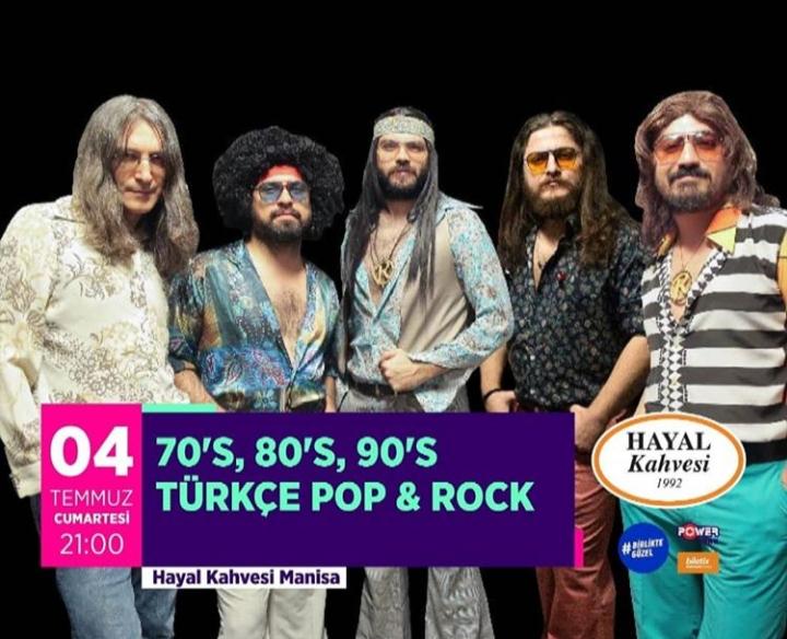 Grup Retrobüs Türkçe Pop-Rock gecesinde 70's, 80's, 90'lı senelerin en hit şarkılarını seslendirecek.