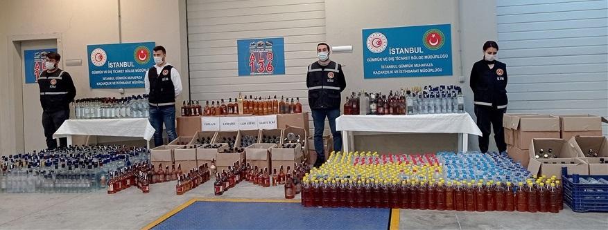 İstanbul'da bin 635 litre sahte içki ele geçirildi