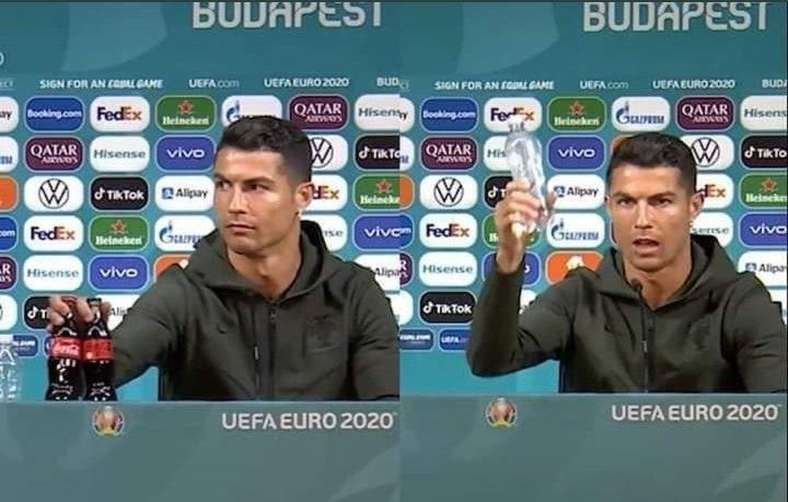 Ünlü Futbolcu Ronaldo basın toplantısında gazlı içecek şişelerini masadan kaldırdı