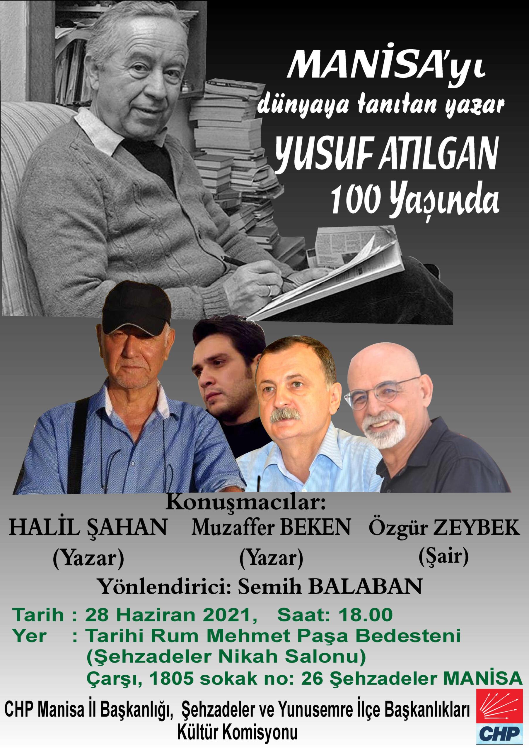 """Manisa' da """"Yusuf Atılgan 100 yaşında"""" paneli düzenleniyor."""